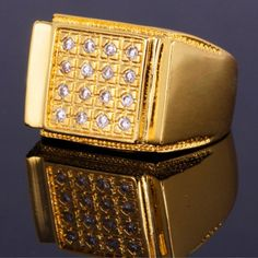 Vintage Rhinestoned Square Ring For Men #CLICK! #clothing, #shoes, #jewelry, #women, #men, #hats