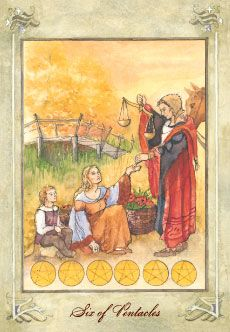 Six of Pentacles - Sharing good fortune. The resolution to a problem. Receiving help, such as a timely commission. Charitable acts. Relief. The settling of a debt. Exchange. Entitlement. Rewarding someone for their effort. Supporting a cause or talent you admire. Balancing the scales. Restitution. Giving credit where deserved.