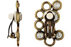 Boucles d'oreilles clips Luna, métallisation bronze, cristal Swarovski, S Stefano Poletti, détail matière