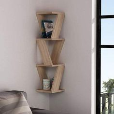 Ada Home Decor Chicago Oak Modern Wall Shelf, Brown, - Bücherregal Dekor Corner Wall Shelves, Wood Wall Shelf, Wall Shelves Design, Wooden Shelves, Floating Shelves, Floating Wall, Wall Shelving, Glass Shelves, Bookshelf Wall