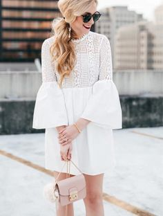 Never saw a bell sleeve that didn't give me heart eyes. 😍 Saw this dress and thought about all the brides-to-be that might be looking for white dresses - I remember searching high and low for them before our wedding and the struggle was SO real! I think that's why I can't pass up a good LWD now. 🙈 Sharing more of my favorite white dresses next week, but you can get these links now via my #linkinbio + @liketoknow.it users can double tap 👉🏼 http://liketk.it/2qaTh #liketkit