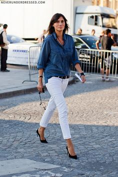... skinny white jeans and chambray shirt.