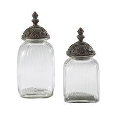 2 Gläser ABELIA mit Deckel aus Harz, H 32cm/38cm