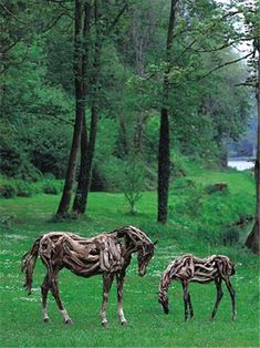 Heather Jansch is a British sculptor notable for making life-sized sculptures of horses from driftwood.
