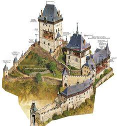 Castillo de Karlštejn (en alemán Burg Karlstein) - Karlstejn, Bohemia, a 30 km de Praga - 1348 Fantasy City, Fantasy Castle, Fantasy Map, Medieval Fantasy, Fantasy World, Medieval Houses, Medieval Castle, Medieval Fortress, Historical Architecture