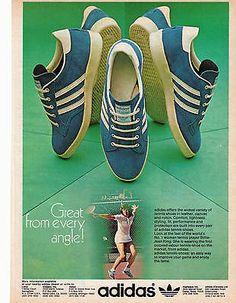 3 1980's Classic Adidas Tennis Shoe Print Ads with Billie Jean King | eBay
