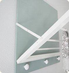 Was just thinking that I need to make one of these for our laundry closet. Small space needs something that doesnt have to be stored elsewhere. DIY Laundry Room Drying Rack by centsationalgirl: Folds flush when not in use. Laundry Room Drying Rack, Drying Rack Laundry, Laundry Closet, Basement Laundry, Drying Racks, Small Laundry, Laundry Rooms, Wall Mounted Drying Rack, Drying Room