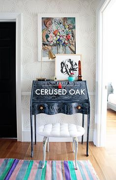 DIY cerused oak secretary makeover via Little Green Notebook Furniture Projects, Furniture Makeover, Painted Furniture, Diy Furniture, Accent Furniture, Craft Projects, Little Green Notebook, Do It Yourself Inspiration, My Living Room