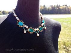 """""""Brighid"""" Festoon Necklace – Rhonda L Abbott Pirate Jewelry, Acrylic Gems, Renaissance Jewelry, Turquoise Necklace, Jewelry Design, Victorian, Pearls, Lady, Accessories"""