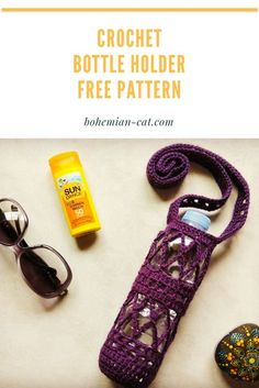 The crochet bottle holder is a very practical and useful thing. I made this free, simple and a very beautiful pattern for you. Crochet Cozy, Quick Crochet, Crochet Crafts, Crochet Yarn, Crochet Hooks, Crochet Projects, Cotton Crochet Patterns, Yarn Bag, Bottle Holders