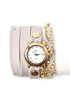 La Mer - Women's Crystal Plum Chain Wrap Watch (Nude/Gold Circle Case)