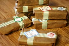 gift idea} 8x8 pan of any goodie cut into 8 bars. Wrap in parchment paper.  Tie w/ twine or ribbon since tape didn't stick well to the paper?