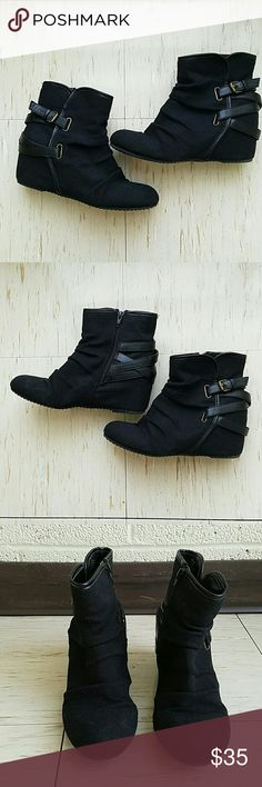 Black booties Black booties with decorative buckles, hidden heel of about 2 in, great condition Shoes Ankle Boots & Booties