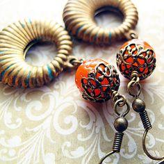 Vintage Brass Hoop Earrings Orange Beaded Fall by jFrancesDesign, $31.00