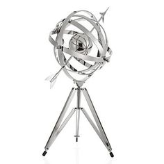 Inspired by a 17th century garden armillary sphere and updated in thick, wide bands of shiny nickel-plated aluminum for a sleek chic look. $249.95