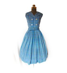 Vintage 1950s 50s Dress - Blue Plaid Sleeveless Shirtwaist Full Skirt Day House Sun Mad Men Dress Medium. $42.00, via Etsy.