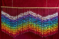 Origami 1000 Crane Air Waves – Senbazuru - 8 vibrant colors in the design of a wave with rainbow colors representing the element of Air.