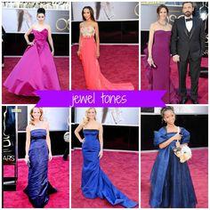 Academy Awards 2013! Red Carpet Dress Trends. Beautiful jewel toned gowns! looooove the oscars!