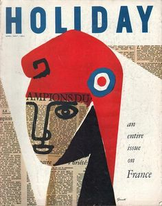 """""""Holiday"""" magazine cover (April by Italian-born American graphic designer George Giusti via Letterology: Design Never Takes a Holiday Vintage Graphic Design, Graphic Design Illustration, Graphic Design Inspiration, Graphic Art, Illustration Art, Best Book Covers, Vintage Book Covers, Design Graphique, Art Graphique"""