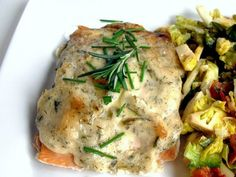 BAKED SALMON FILLETS WITH AN HERBED MAYONNAISE CRUST