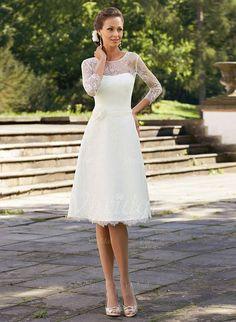 Brautkleider - $143.07 - A-Linie/Princess-Linie U-Ausschnitt Knielang Spitze Brautkleid mit Blumen (0025100682)