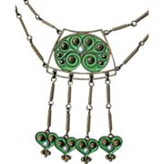 Gustav Gaudernack for David Andersen. Silver necklace with green plique-a-jour enamel. 1905-1910