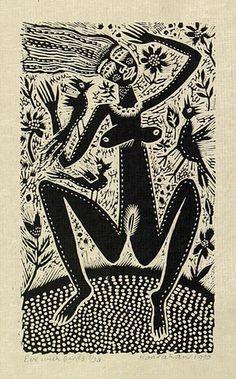 Eve with birds 1960 Arte Tribal, Tribal Art, Linocut Prints, Art Prints, Block Prints, Aboriginal Dot Painting, Illustration Photo, Indigenous Art, Monochrom