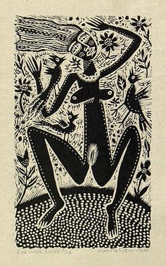 Artist: HANRAHAN, Barbara | Title: Eve with birds | Date: 1990 | Technique: wood-engraving, printed in black ink, from one block