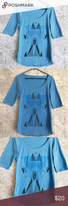 Soft Blue 3/4 Sleeve Tall & Skinny Top Tee Squalo If you are tall and skinny this top is for you. Pretty and feminine ~boat neck cut, the bottom hems are curve and the seams curve slightly by design too. 50% Cotton 50% Polyester, super soft fabric. ~17 1/2 in armpit to armpit. ~26 1/2 in top to bottom center. ~8 in from top to bottom shoulder-armpit seam. Sleeves are ~13 in from shoulder seam to end. Great condition. Squalo is a Mexican Surf Brand based in Guadalajara. This was purchased at…
