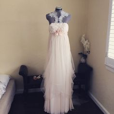 Hey, I found this really awesome Etsy listing at https://www.etsy.com/ca/listing/230605638/halter-fairy-wedding-dress-one-of-a-kind