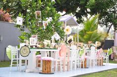 Outdoor partyscape from Vintage Alice in Wonderland Birthday Party at Kara's…