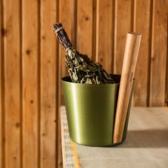 The genius blend of the heat-treated bamboo handles and metallic colorized aluminum basins gives this set both an industrial and natural look, allowing it to fit in traditional or more modern spaces.  Rento Green Sauna Bucket & Ladle Gift Set
