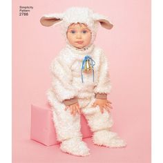 Sweet Toddlers' costumes featuring a lamb, duck, witch, pumpkin and ladybug. Simplicity sewing pattern.