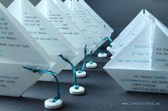 Einladungskarte zur Konfirmation oder Kommunion der ganz besonderen Art. Das gefaltete Papierboot wird mit dem Einladungstext bedruckt und hat einen kleinen Rettungsring am Seidenband. Als Umschlag...