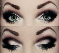 Smoky eye with heavy black dramatic crease eye makeup, gorgeous!