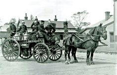Christchurch, Sydenham horse-drawn fire engine. Lma New Zealand