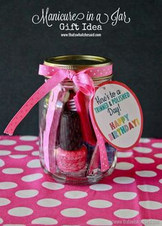 Inexpensive Manicure in a Jar! Free Birthday Tag Printable to make this a fun Gift Idea!