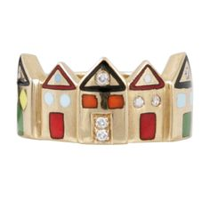 1stdibs.com | Enamel ring in 18ct Gold depicting a row of houses by Scarlatty, Italy, 1960.