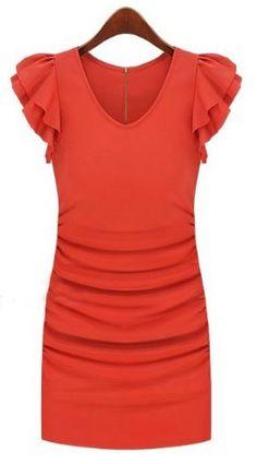 Orange V-neck Ruffle Sleeve Zip Back Sheath Dress