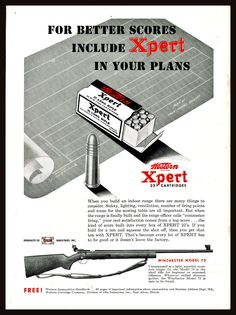 Winchester Firearms, Indoor Range, Long Rifle, Bolt Action Rifle, Rifles, Weapons, Guns, Advertising, Posters