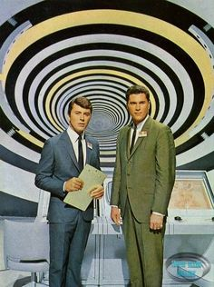 """James Darren and Robert Colbert as the scientists trapped in """"The Time Tunnel,"""" an Irwin Allen produced television series of the 60s Tv Shows, Old Shows, Great Tv Shows, Photo Vintage, Vintage Tv, Science Fiction, The Time Tunnel, James Darren, Mejores Series Tv"""