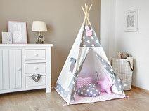 Zestaw Tipi Namiot dla Dzieci - Cozy Grey Stars