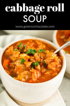 Cabbage Roll Soup is an easy way to enjoy the flavors of cabbage rolls in one easy and healthy soup. #soup #cabbagesoup #rollsoup | greensnchocolate.com @greenschocolate Cabbage Roll Soup, Cabbage Rolls, Cheap Clean Eating, Clean Eating Snacks, Beef Recipes, Healthy Recipes, Easy Recipes, Recipies, Rezepte