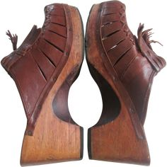 1970s shoes for women | Leather Clogs Vintage 1970s Womens Shoes Wooden Heel Sandals Brazil ...