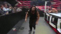 Roman Reigns With a Samoan Spear! (This time Kane gets the Spear through the barricade.)