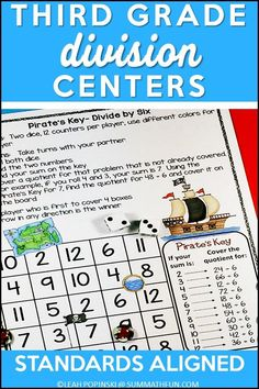Division Activities – Third and Fourth Grades Do your third grade or fourth grade students need division practice to help them master their division facts? Try these division activities and division games to keep your kids motivated and learning with a fun Pirate Theme! They are perfect for differentiated math centers, partner work, morning work or extra activities for early finishers. #division #divisiongames #divisionfacts Division Activities, Division Games, Fun Math Activities, Math Games, Third Grade Math, Fourth Grade, Up Teacher, Math Classroom, Classroom Ideas