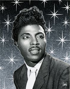 Illustration of Little Richard by Jim Blanchard Albert Collins, Long Tall Sally, Tutti Frutti, Rock And Roll, Old School Music, Thing 1, Patti Smith, The Dark World, Rhythm And Blues