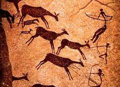Een grotschildering van hoe de Jagers en Verzamelaars jaagde op de dieren. Ze gebruikte wapens zoals: Speren, Pijl en boog enz. Kunst was een deel van overige uitingen.