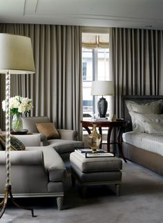 Chic Master Bedroom with seating area