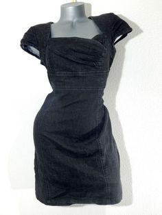 Boom Boom Jeans Dark Denim Cap Sleeve Fitted Shift Dress
